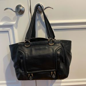 Chloe black leather tote